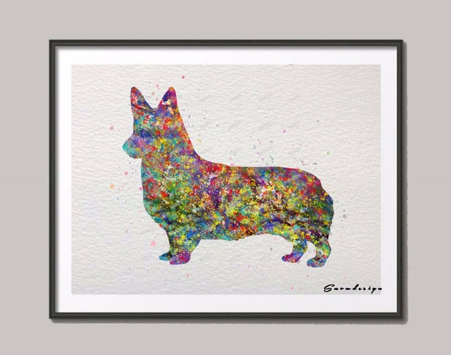 Original Corgi Dog Watercolor Canvas Painting Dog Wall Art Poster Print  Pictures Living Room Home Decoration