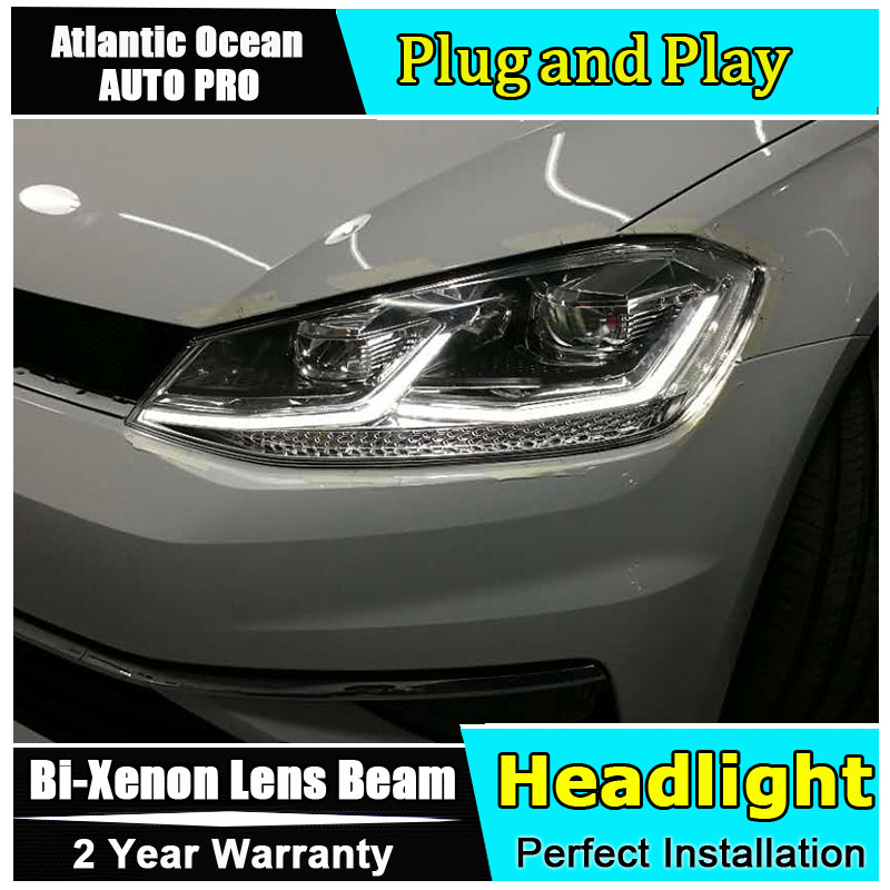 Auto Part Style LED Head Lamp for VW golf 7 led headlights 2013-2017 FOR golf 7 H7 hid Bi-Xenon Lens low beam for volkswagen polo mk5 vento cross polo led head lamp headlights 2010 2014 year r8 style sn