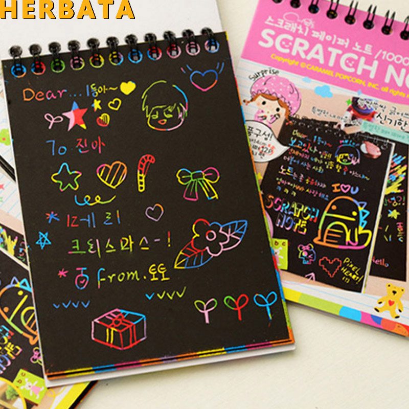 HERBATA Scratch Note Black Cardboard Creative DIY Draw Sketch Notes For Kids Toy Notebook Zakka Material Escolar School Supplies