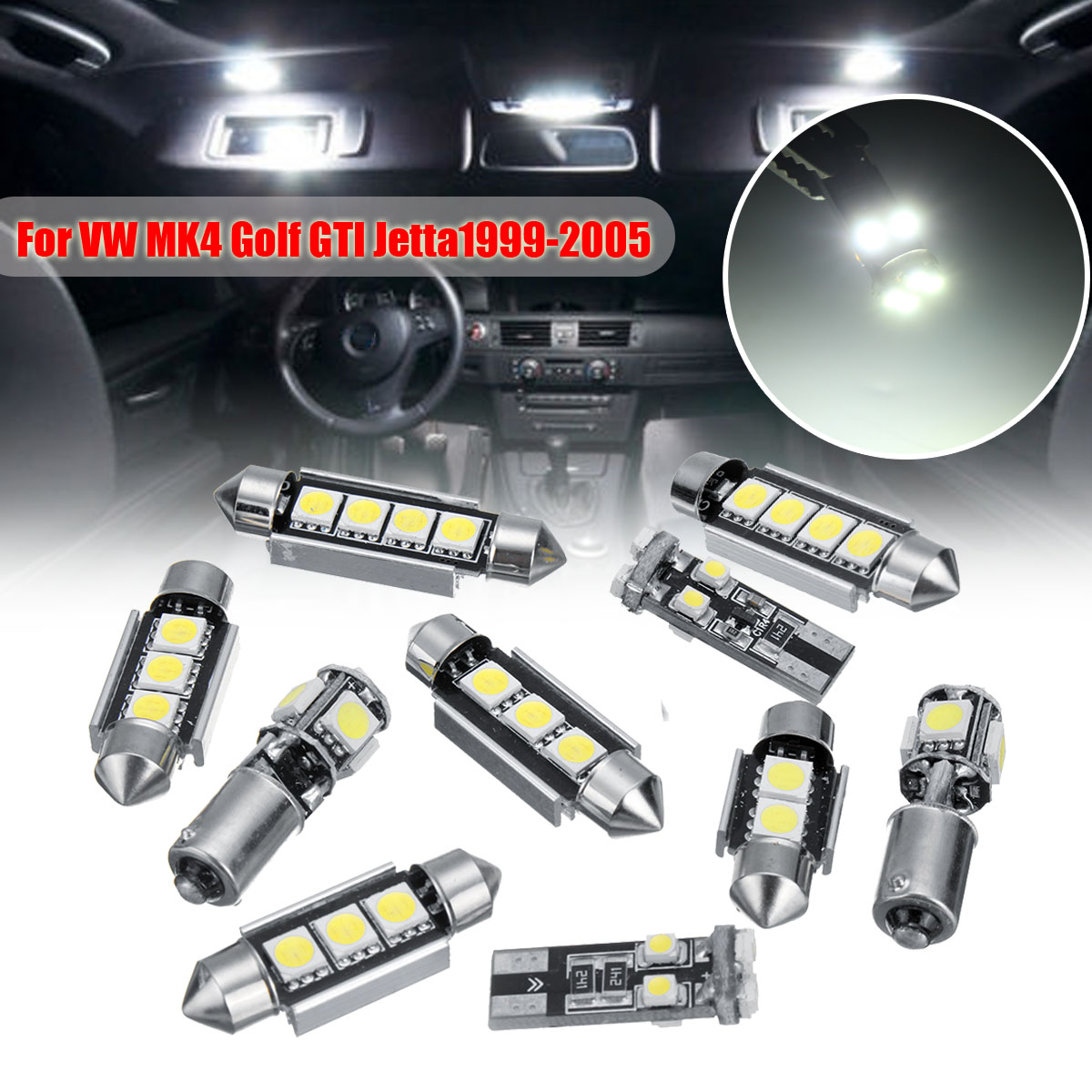 Autoleader Error Free White 10pcs Lights SMD LED Interior Lights Kit For Volkswagen for VW MK4 Golf GTI Jetta 1999-2005 image