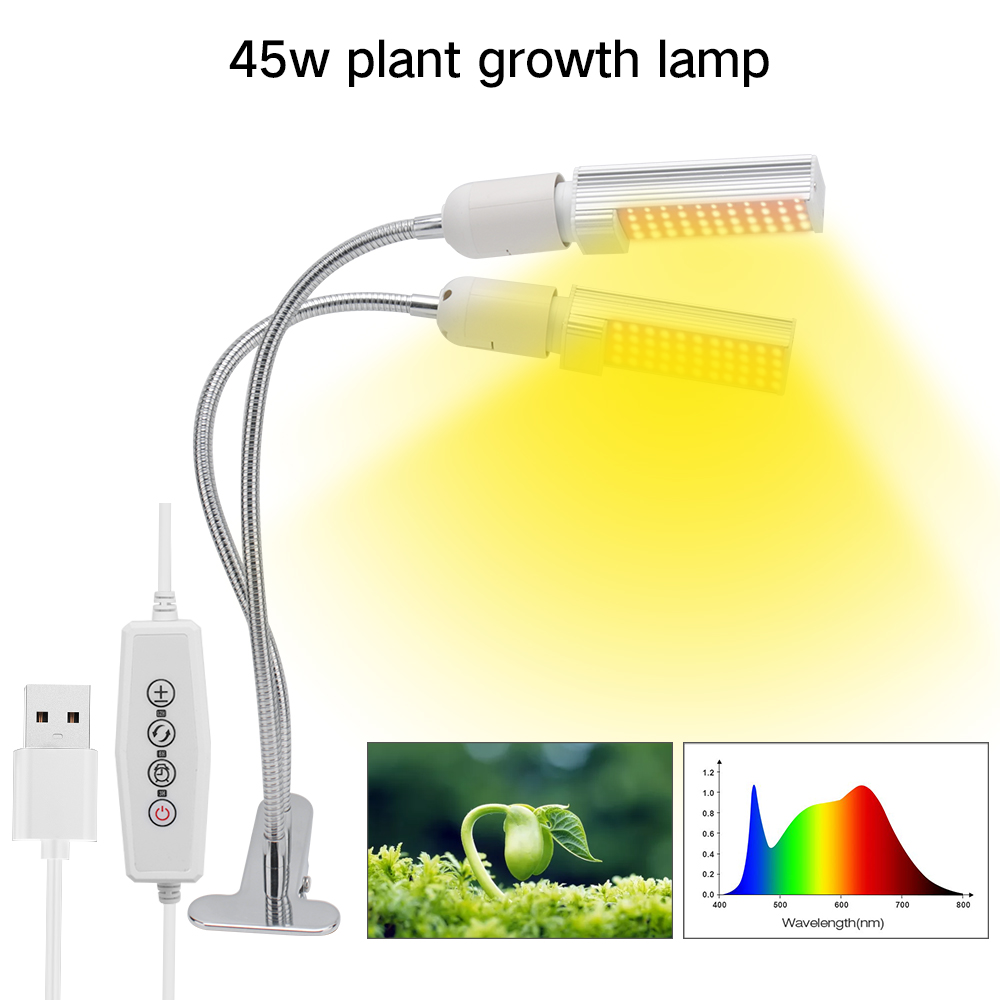 Dimmable LED Grow Light with Timer 45W 88 LEDs Full Spectrum Sunlike Clip on Phytolamp Indoor