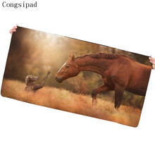 Congsipad Dog and Horse Large Gaming Mouse Pad Lock Edge Rubber Speed Animal Mouse Mat Soft Office Mouse Mat for Office Home Use