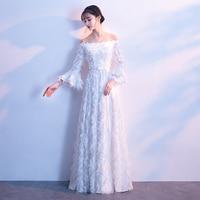 White Long Evening Dresses Plus Size 2019 Elegant A line Floor Length Boat Neck Long Sleeves White Evening Gowns For Women