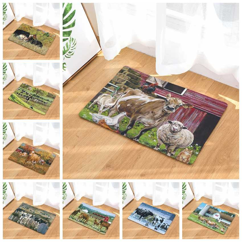 40x60/50x80cm Anti-slip Carpets Cow And Horses On The Grassland Print Mats Bathroom Floor Kitchen Rugs