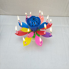 Lotus with double Flower rotating disk Birthdays Cake Decorating Supplies DIY 14 Candles Lamp Musical Accessories