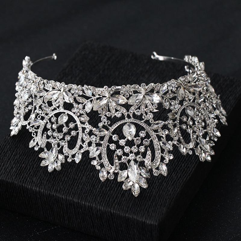 Image 2 - KMVEXO New Vintage Luxury Big European Bride Wedding Tiaras Gorgeous Crystal Large Round Queen Crown Wedding Hair Accessories-in Hair Jewelry from Jewelry & Accessories