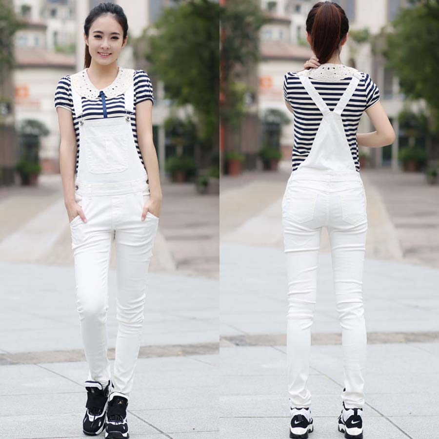 best quality for to buy lowest discount New Fashion White Stretch Denim Jeans Overalls Suspenders Women Necessary  Skinny Pants Tight Trousers