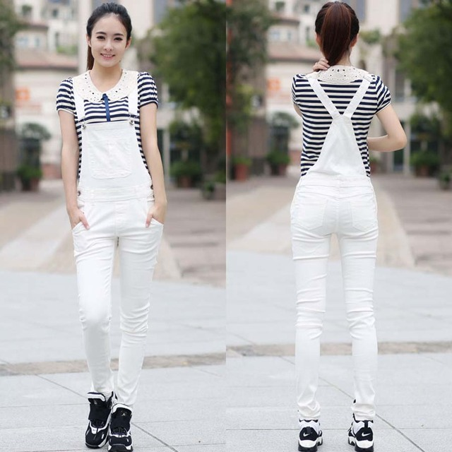 6ddfd4956bbc New Fashion White Stretch Denim Jeans Overalls Suspenders Women Necessary Skinny  Pants Tight Trousers