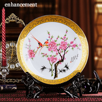 Цзиндэчжэнь Famille роза керамика пластины роскошный позолоченный эмаль декоративная фарфоровая тарелка современной гостиной ремесленных