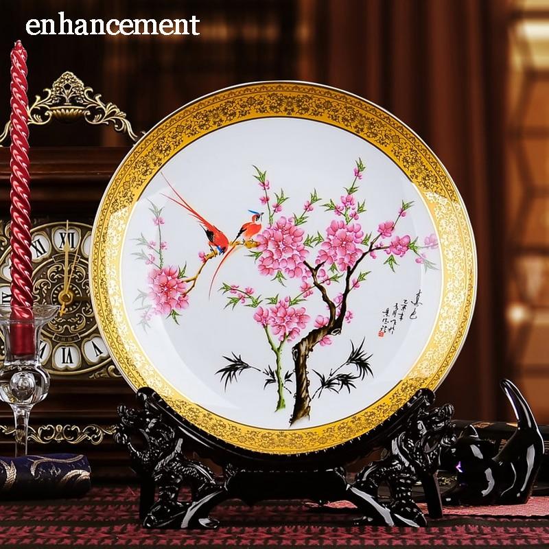 Jingdezhen Famille Rose Ceramics Plate Luxurious Gold plated Enamel Decorative Porcelain Plate Modern Living Room Handicraft