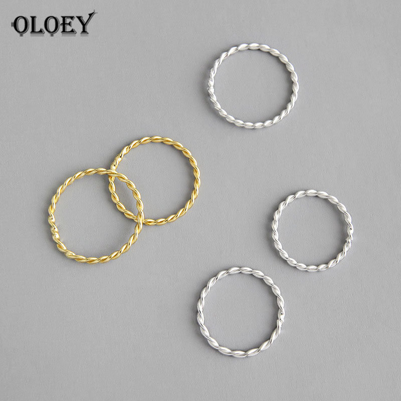 OLOEY Genuine 925 Sterling Silver Rings For Women Girls Korean Simple INS Minimalist Twist Finger Ring Fine Party Jewelry YMR880