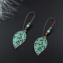 New Dangle Earrings Hanging for Women Ethnic Bronze Leaf Green Drop Earrings Vintage Jewelry Fashion Women's Earrings 2019 Gift vintage ethnic leaf shape drop dangle earrings hanging blue stone beads earrings for women fashion wedding jewelry accessorries