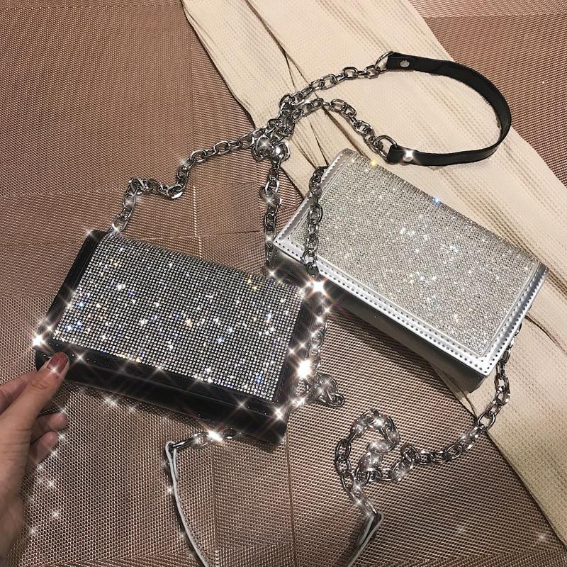 Shiny Diamond Female Flap Square Bag 2019 Summer New Quality PU Leather Women's Designer Handbag Chain Shoulder Messenger Bags