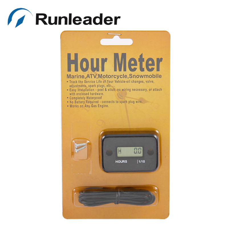 (20pcs/lot) LCD Digital Hour Meter for Engine Bike Pitbike Motorcycle Snowmobile Marine Boat Ski Dirt Quad Bike ATV pit bike