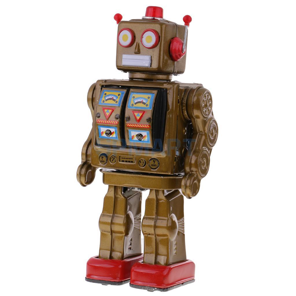 Retro Vintage Baterías Operado Caminar Mecánica Electrónica Robot Tin Toy Coleccionables Niños Niños Adultos Juguetes Regalos - 3