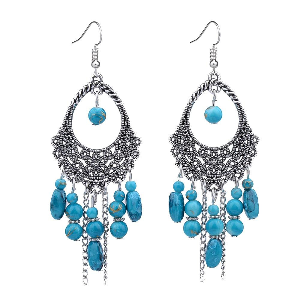 ER367 العتيقة اللون الفضي بوهيميا 5 اللون الأزرق / الأحمر / الأخضر الخرز الملكي خمر أقراط للنساء سيدة جديدة المجوهرات المصوغات