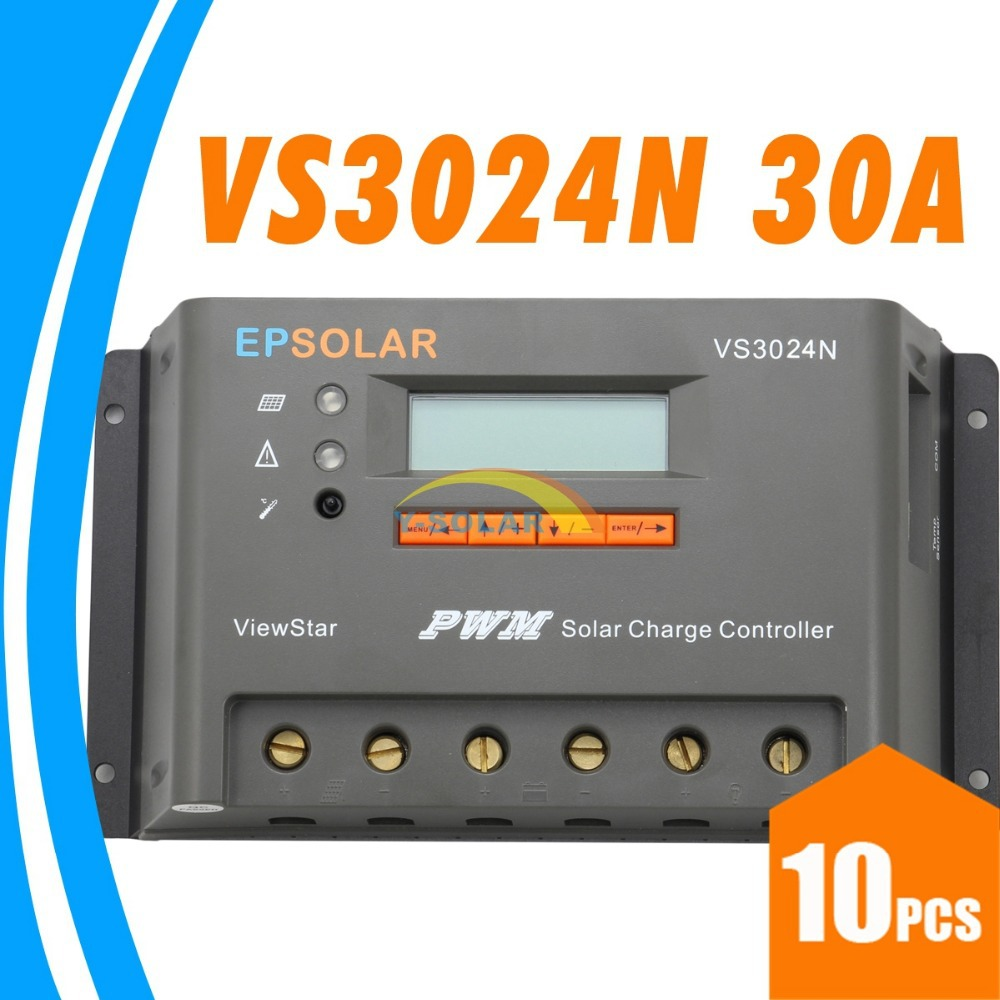 30A Solar Charge Controller VS3024N EPsolar Solar Panel 12V 24V battery charge controller 30A LCD charger controller EP solar 100w folding solar panel solar battery charger for car boat caravan golf cart