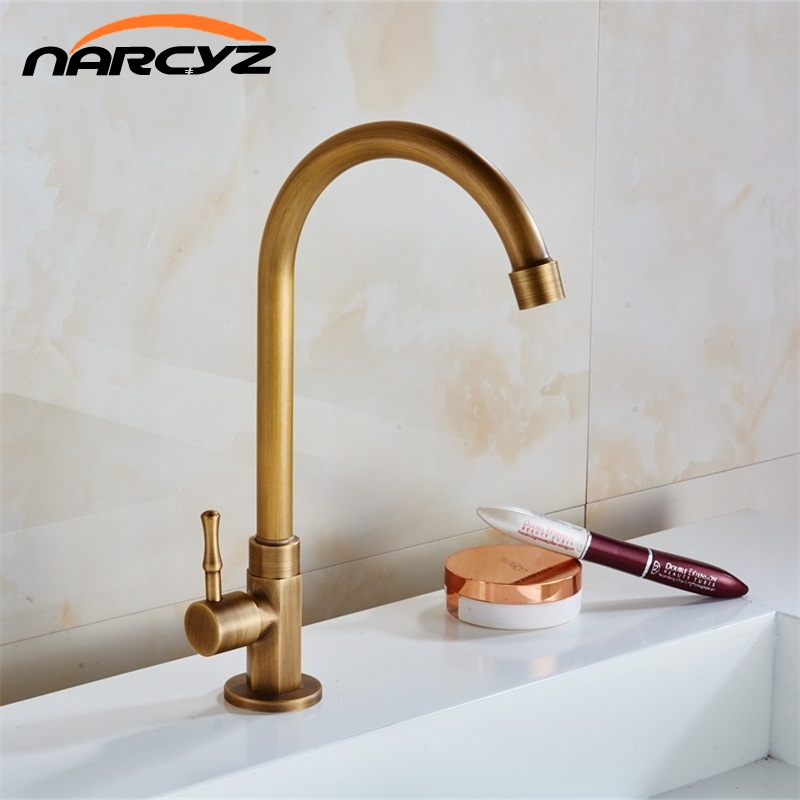 Single Cold Antique Brass Kitchen Sink Faucet Vanity