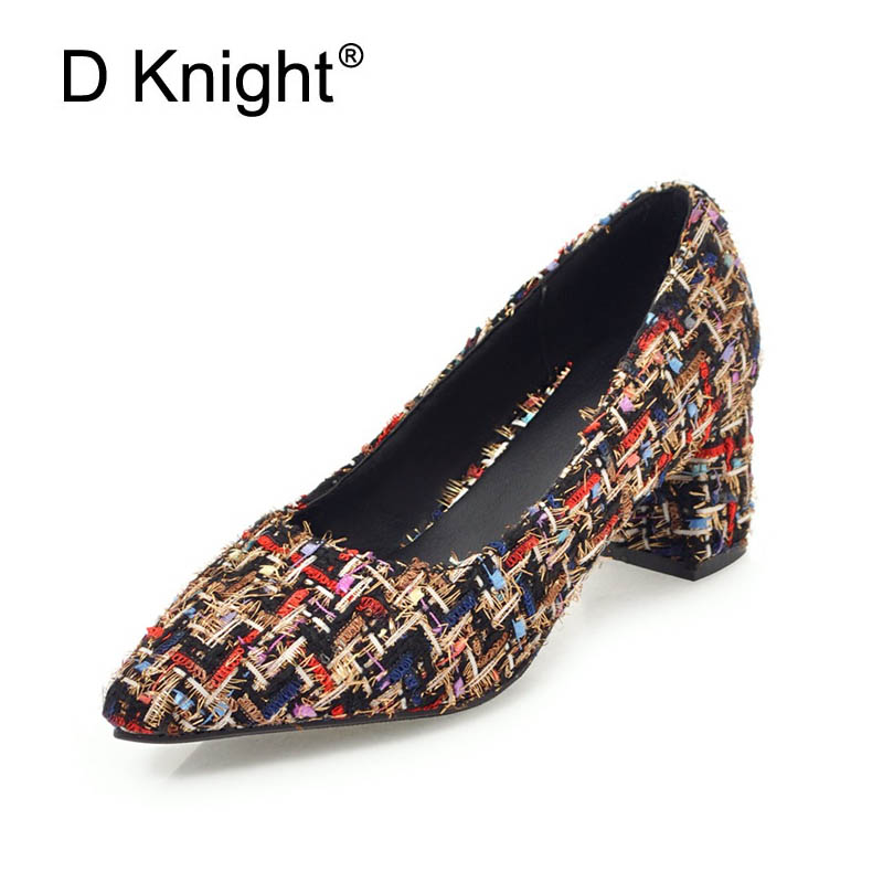 Women Pumps Fashion Elegant Pointed Toe Square High Heels Office Lady Woman Shoes Shallow Slip On Party Wedding Shoes Flower I86 high quality women shoes colorful rhinestone shallow mouth high heels mature women pumps round toe slip on party wedding shoes