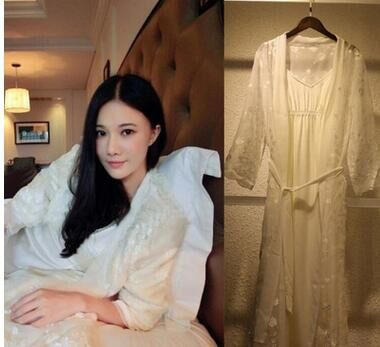 White Lace Gowns suit Women Nightgown Set Sleepwear For Lady