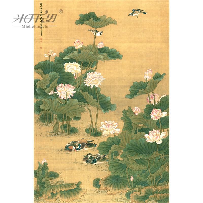 Michelangelo Wooden Jigsaw Puzzles 500 1000 1500 2000 Pieces Old Master Lotus Flower Mandarin Duck Shen Quan Art Educational Toy