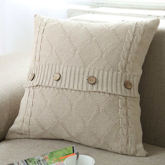 Cushion Cover Retro Style Knitted Wool Pillow Case Button Sofa Waits Bedroom  Decorative Pillows Capa Square