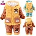 Crianças Inverno Algodão-acolchoado Roupas Terno 2 Pcs Bebê Infantil Jaqueta Casaco de Inverno 3-4 Anos de Idade da Criança algodão-acolchoado Jacket V-0284