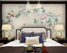 beibehang 3d wallpaper Customized new Chinese plum blossom hand-painted flowers birds background decorative painting wall paper