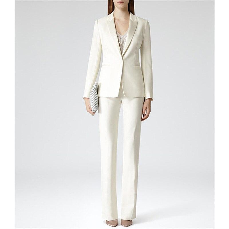 Custom Womens Business Work Suits Formal Evening 2 Piece Pant Suits Female Office Uniform One Button Ladies Trouser Suits