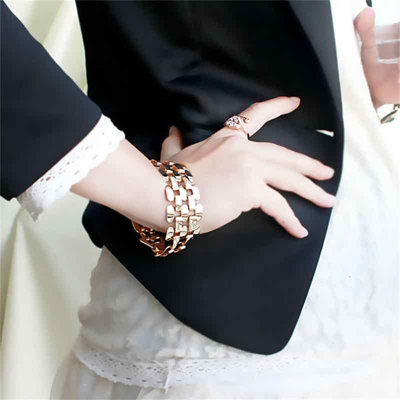Złoty kolor srebrny stop cynkowy Hollow Out Punk bransoletka i bransoletki moda biżuteria mężczyzn i kobiet