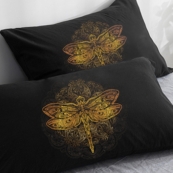 Customize Pillowcase 50x70/75/80 70x70,3D HD Black Pillow Case,Decorative 2PCS Pillow Cover Golden dragonfly on Black Bedding image