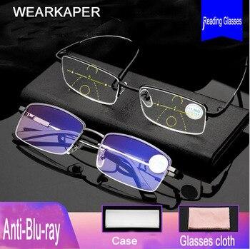 Wearkaper 티타늄 합금 전환 프로그레시브 다 초점 독서 용 안경 원시 원거리 노안경 안티 블루 라이트 안경 1.0-3.5