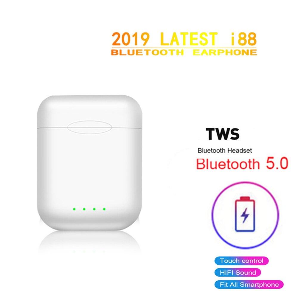 2019 nova i88 tws sem fio bluetooth 5.0 fone de ouvido controle toque esportes fones de ouvido jogos com microfone duplo