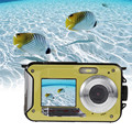 24MP Double Screens Waterproof Digital Camera,2.7 inch +1.8 inch Screens HD 1080P CMOS 16x Zoom Camcorder Mini Camera DVR