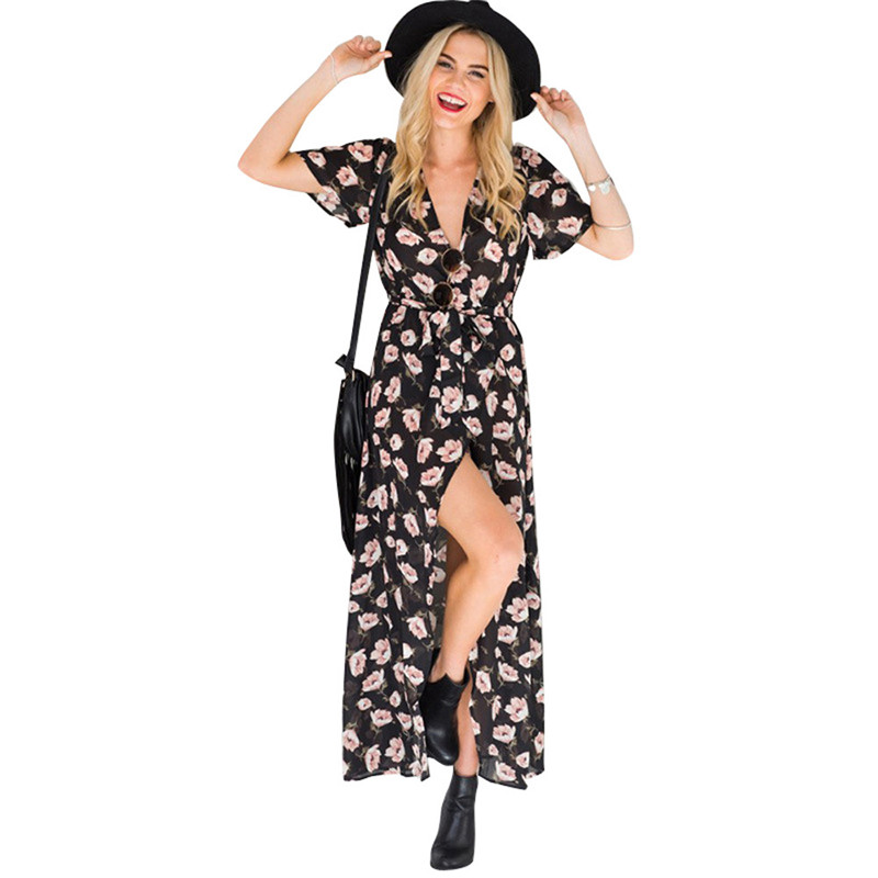 snowshine YLI Womens Summer Vintage Boho Long Maxi Split Wrap Evening Party Beach Floral Dress free shipping