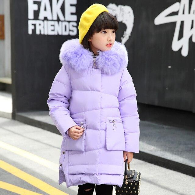 Зимнее пальто для девочек детская одежда длинные куртки детская одежда Меха с капюшоном Пуховики на гусином пуху для десткая Одежда для девочек верхняя одежда