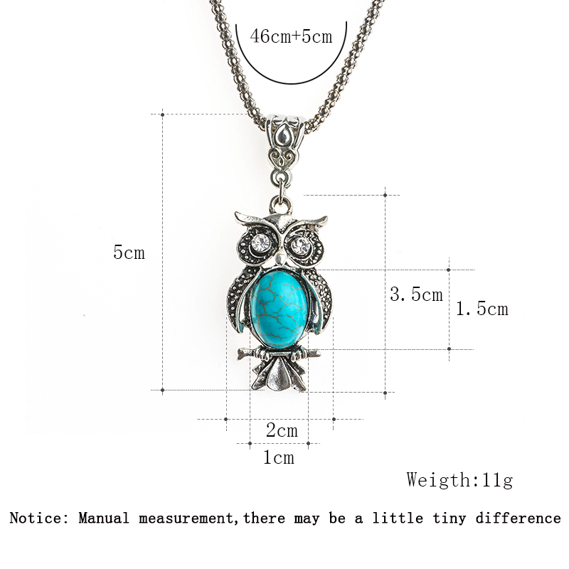 Jewelry & Accessories Hot Sale Shuangr Bohemian Crystal Eyes Owl Charm Women Pendant Blue Natural Stone Silver Color Chain Necklace Fashion Jewelry