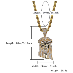 Image 5 - TOPGRILLZ New Ice out Jesus Corolla pendant hip hop Jewelry Fashion CZ Stone Necklace Cubic Zircon Link For Man Women Gift