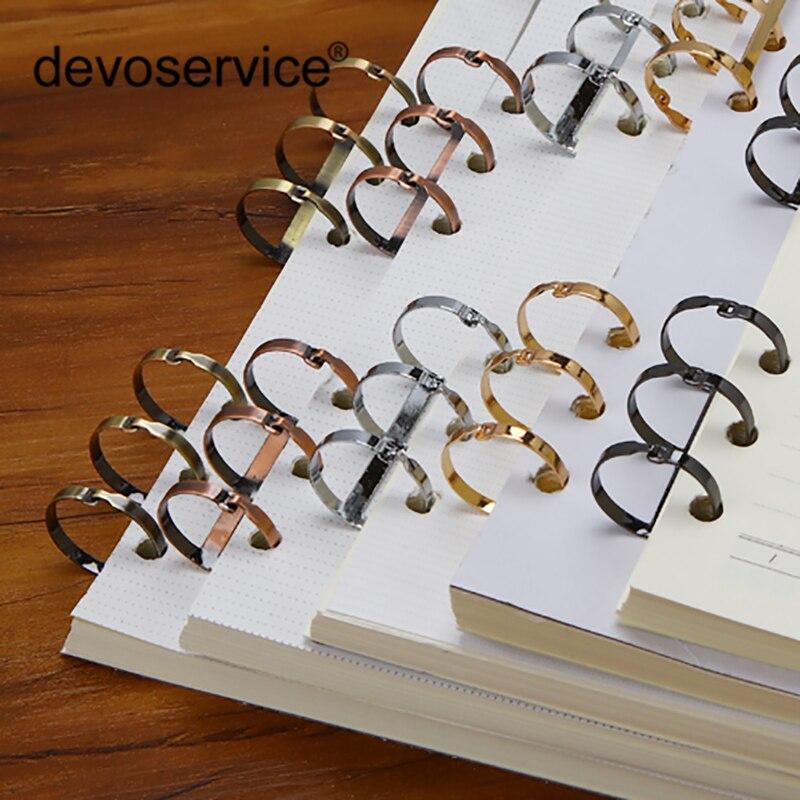 2Pcs/Lot Metal Plated Loose Leaf Book Binder Hinged Ring Binding Elastic Rings Nickel Desk Calendar Circle 3 Rings For Card