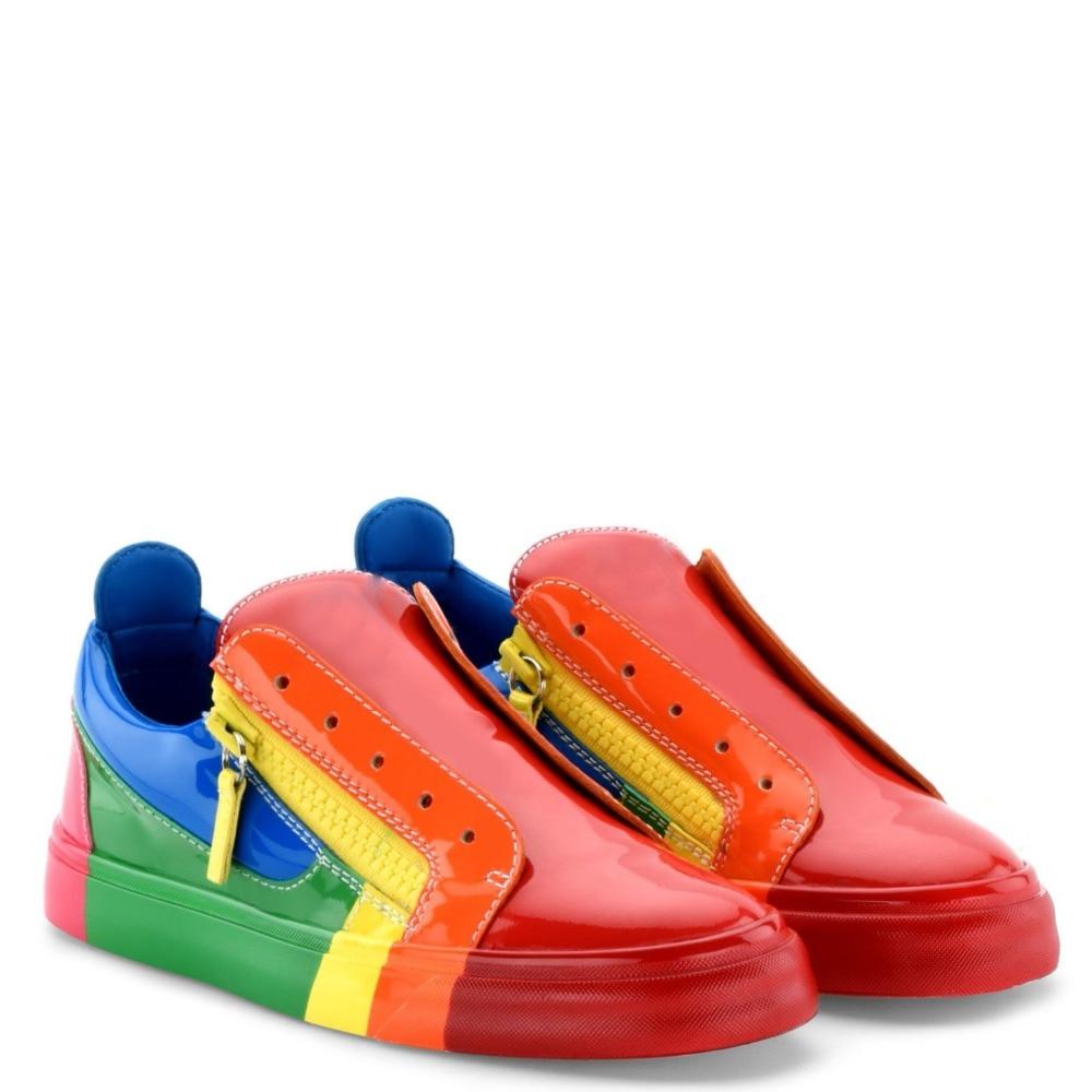 699d83d42 As Zapatos Transpirable Primavera Rojo Hombres Caramelo Planas Tamaño 2018  Casual Grande Picture Zapatillas Zip Colores ...