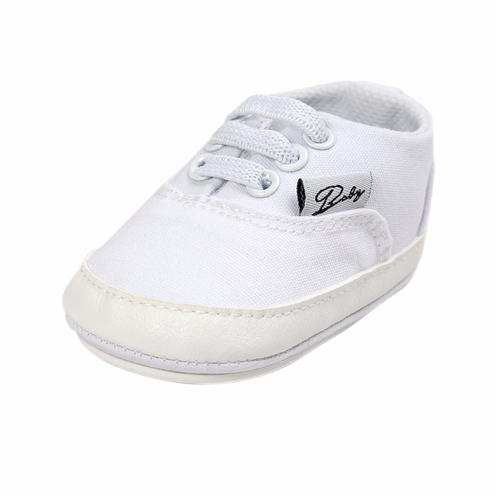 Купить с кэшбэком Delebao Spring/Autumn White Style Lace-up Rubber Sole Prewalker Baby Boy & Girl Casual Shoes Sneakers For 0-18 Months Wholesale