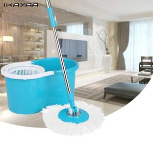 iKayaa US FR Stock Spin Mop 360 Rolling Magic Spin Mop&Bucket Set Rotating Easy-Wring Floor Mop with 2 Microfiber Mop Heads