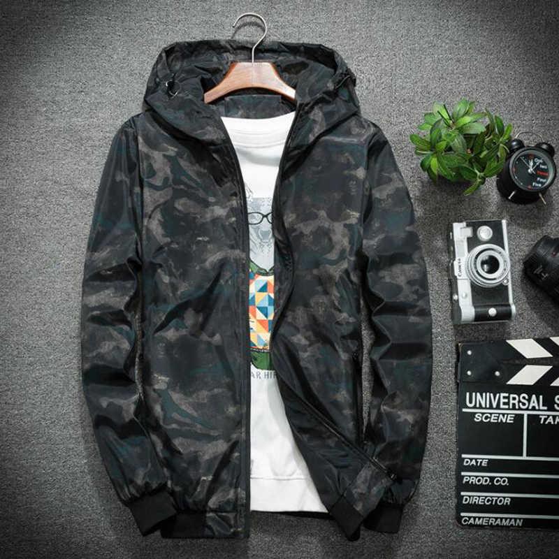 ... Мужская спортивная куртка s Весна Осень Повседневная камуфляжная куртка  с капюшоном Верхняя Одежда непромокаемая ветровка пальто c7d9b5ce933