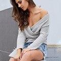 Nuevo otoño 2017 gruesa profunda V-cuello sólido suéter de manga larga de punto de las mujeres suéteres flojos para las mujeres más el tamaño pullovers
