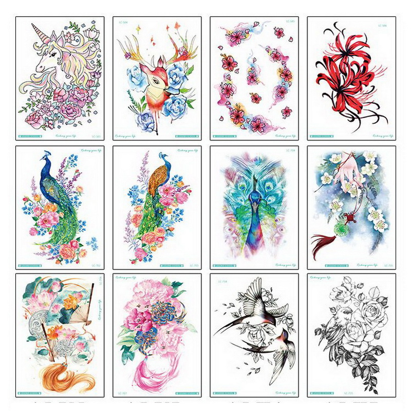 Big Flower arm tattoo Temporary Tattoo Sticker Sparrow/Magpie Fake Tatoo Sleeve Flash Tatto Waterproof Body Art Women sexy girls 1
