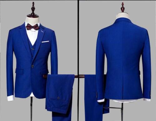 3Peices Custom Made Royal Blue Men Suits Bridegroom Wedding Tuxedo Business Suit