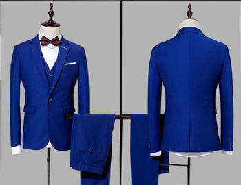 3Peices Custom Made Royal Blue Men Suits Bridegroom Wedding Tuxedo Business Suit
