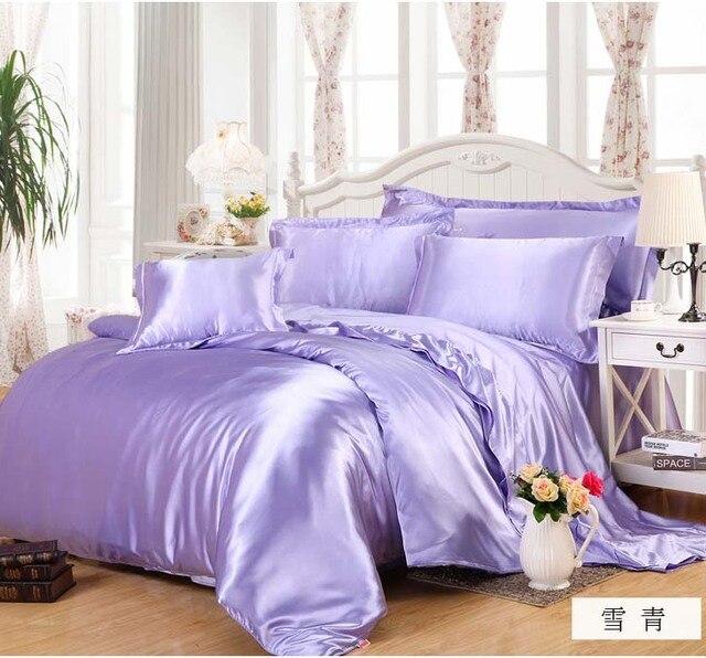 Purple Luxury Silk Bed Linen Set Satin 3/4pcs Bedding Sets/bedclothes Twin  Full