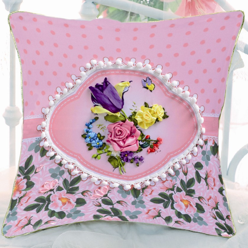 Cm diy ribbon embroidery sofa pillow car cushion