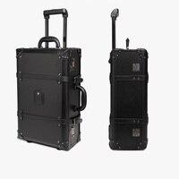 Yeni Retro Tasarım Yüksek Sınıf 20/24 Inç Güçlü Ve Sağlam Arabası Yatılı Bavul Seyahat Su Geçirmez Haddeleme Bagaj Kutusu